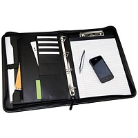 Monolith 4 O-Ring Conference Binder with Pad Clip, 260x360mm, Leather-Look, Black