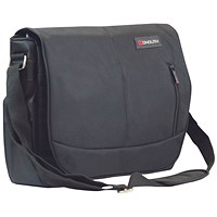 Monolith Courier Messenger Bag w/Pocket for iPad or Netbook Black