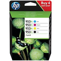 HP 953XL High Yield Ink Cartridges (4 Cartridges) 3HZ52AE
