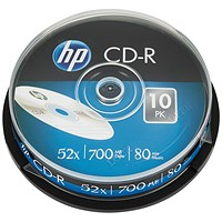 HP CD-R 52X 700MB Spindle (Pack of 10)