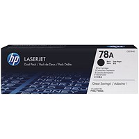 HP 78A Black Laser Toner Cartridge (Twin Pack) CE278AD