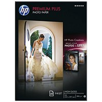 HP A4 White Premium Plus Glossy Photo Paper (Pack of 20) CR672A