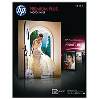 HP White Premium Plus Glossy Photo Paper (Pack of 20) CR676A