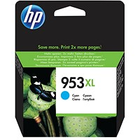 HP 953XL Cyan High Yield Ink Cartridge F6U16AE