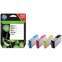 HP 364 Ink Cartridges - Black, Cyan, Magenta & Yellow (4 Cartridges) N9J73AE