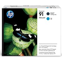 HP 91 Matte Black and Cyan Ink Cartridges and Printhead P2V35A