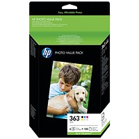 HP 363 Photo Pack (6 Cartridges & 150 Sheets of 10x15cm Paper) Q7966EE