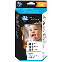 HP 364 Ink Cartridges with Photo Paper (3 Cartridges & 50 Sheets of Photo Paper) T9D88EE