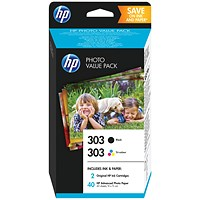 HP 303 Black & Colour Ink (2 Cartridges) With Photo Paper Z4B62EE
