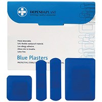 Reliance Medical Dependaplast Blue Plasters Assorted (Pack of 100)