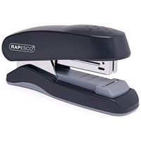 Rapesco Flat Clinch Half Strip Stapler for 26/6 Staples - Black