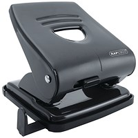 Rapesco 827 Hole Punch w/Paper Guide Capacity 30 Sheets Black