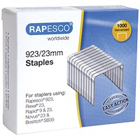 Rapesco 923/23mm Staples Galvanised Finish (Pack of 1000)