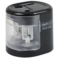 Rapesco USB Electric Pencil Sharpener Dual Power USB or Battery Black