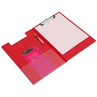 Rapesco Foldover Clipboard with Interior Pocket Foolscap Red