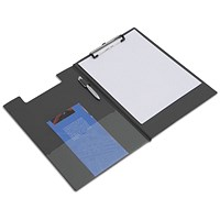 Rapesco Foldover Clipboard with Interior Pocket Foolscap Black
