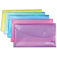 Rapesco A5 Popper Wallets, Assorted, Pack of 5