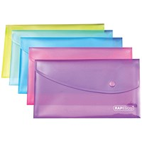 Rapesco DL Popper Wallets, Assorted, Pack of 5
