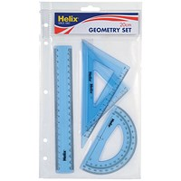 Helix Geometry 4 Tool Set (Includes scale ruler, 2 x set squares and protractor)