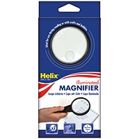 Helix Illuminated Magnifying Glass Hand Held 75mm Black
