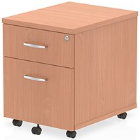 Impulse 2 Drawer Mobile Pedestal, 500mm Deep, Beech