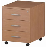 Impulse 3 Drawer Mobile Pedestal, 500mm Deep, Beech