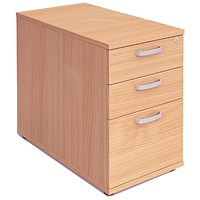 Impulse 3 Drawer Desk High Pedestal, 800mm Deep, Beech