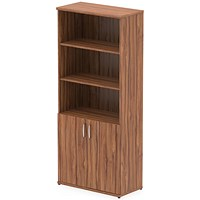 Impulse Tall Cupboard, Open Shelves, 2000mm High, Walnut