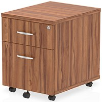Impulse 2 Drawer Mobile Pedestal, 500mm Deep, Walnut