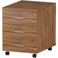 Impulse 3 Drawer Mobile Pedestal, 500mm Deep, Walnut