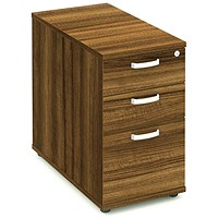 Impulse 3 Drawer Desk High Pedestal, 800mm Deep, Walnut