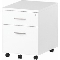 Impulse 2 Drawer Mobile Pedestal, 500mm Deep, White