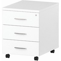 Impulse 3 Drawer Mobile Pedestal, 500mm Deep, White