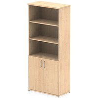 Impulse Tall Cupboard, Open Shelves, 2000mm High, Maple