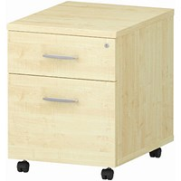Impulse 2 Drawer Mobile Pedestal, 500mm Deep, Maple