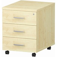 Impulse 3 Drawer Mobile Pedestal, 500mm Deep, Maple