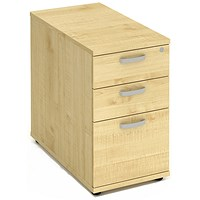 Impulse 3 Drawer Desk High Pedestal / 800mm Deep / Maple