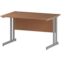 Impulse Rectangular Desk, 1200mm Wide, Silver Legs, Beech