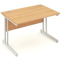Impulse Rectangular Desk, 1200mm Wide, Silver Legs, Beech, Installed