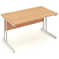 Impulse Rectangular Desk, 1400mm Wide, Silver Legs, Beech, Installed