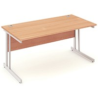 Impulse Rectangular Desk, 1600mm Wide, Silver Legs, Beech, Installed