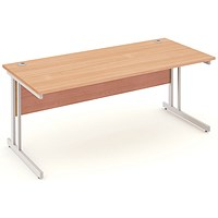 Impulse Rectangular Desk, 1800mm Wide, Silver Legs, Beech, Installed