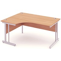 Impulse Corner Desk, Left Hand, 1600mm Wide, Beech, Installed