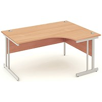 Impulse Corner Desk, Right Hand, 1600mm Wide, Beech, Installed