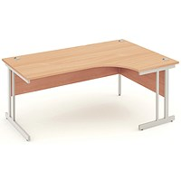 Impulse Corner Desk, Right Hand, 1800mm Wide, Beech, Installed