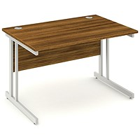Impulse Rectangular Desk, 1200mm Wide, Walnut, Installed