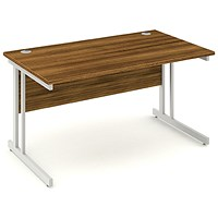 Impulse Rectangular Desk, 1400mm Wide, Walnut, Installed