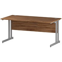 Impulse Rectangular Desk, 1600mm Wide, Silver Legs, Walnut