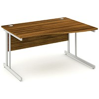 Impulse Wave Desk, Right Hand, 1400mm Wide, Walnut, Installed