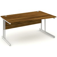 Impulse Wave Desk, Right Hand, 1600mm Wide, Walnut, Installed